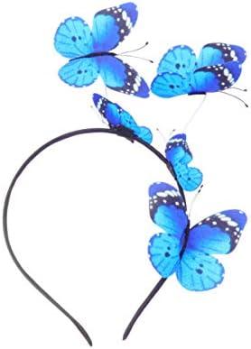 Minkissy Vrouwen vlinderhoofdband elegante haarband mode fascinator hoed haarband voor dames nieuw jaar feest kostuum cosplay blauw