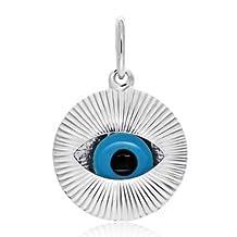 Moving Glass Evil Eye Sterling Silver Pendant