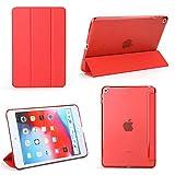 iPad Mini 5 Case - Bear Motion Premium Folio Case with Stand for Apple iPad Mini 5 (Support Smart Cover Function) (iPad Mini 5, Red)