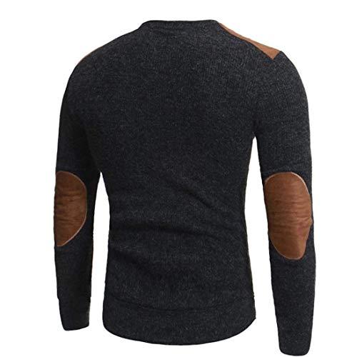 Décontractés Chemises Hommes Grau Col T Blouse Pour La Automne Rond shirt Printemps Mode À Tops Patchwork Chic rZ4xzwr