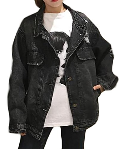 ARRIVE GUIDE Womens Button Down Washed Faded Ripped Denim Jacket Outwear Black X-Large ()