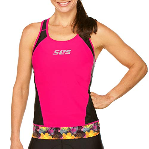SLS3 Womens Triathlon Top FX | Tri Top Women | Back Pocket | Anti-Friction Seams | Gripper Hem | Jersey | German Designed (Black/Bright Rose, L) (Triathlon Bra Top)