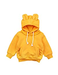OUYAWEI Cute Bear Ear Hooded Tops Breathable Long Sleeve Velvet Hoodie