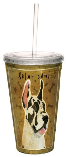- Tree-Free Greetings cc34071 Harlequin Great Dane by John W. Golden Artful Traveler Double-Walled Cool Cup with Reusable Straw, 16-Ounce