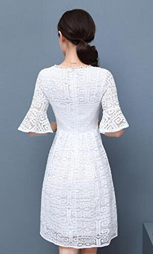 Größe Hülse Große Spitzenkleid Ein Schlank Größe Kleid Spitze dünne Schädel Sommer MoMo Weiß TnU6zq
