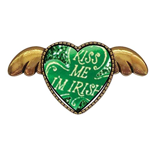 GiftJewelryShop Ancient Style Gold-Plated Kiss Me I'm Irish Heart with Simple Angel Wings Pins Brooch