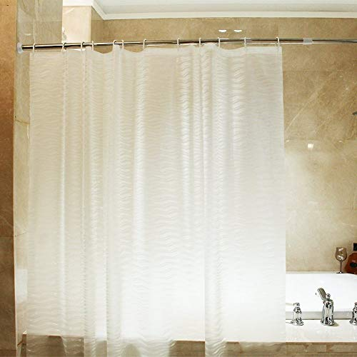 Mooxury Mildew Resistant shower curtain Liner with Hooks for Bathroom, EVA Bathroom Curtains, Water Proof, Antibacterial, Nontoxic, 72x72 Inch, White/Clear