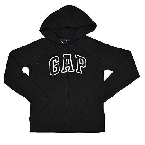 GAP Womens Fleece Arch Logo Full Zip Hoodie (Black, Small)