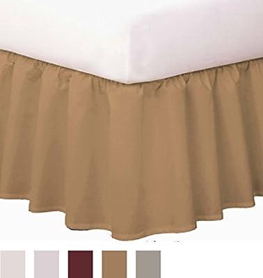 "Levinsohn Magic Skirt Ruffled Bedskirt, Never Lift Your Mattress, Classic 14"" drop length, Gathered Ruffle Styling"