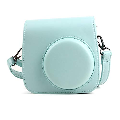 Wogozan Mini Camera Case for Fujifilm Instax Mini 9 8 8+ Instant Film Camera Premium PU Leather with Shoulder Strap (Ice Blue)