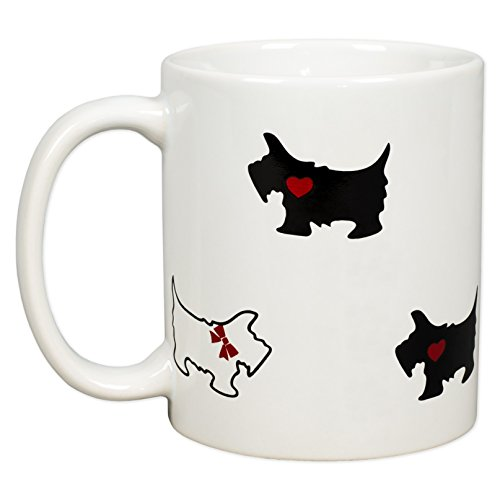 Scottie Dogs with Red Bows and Hearts 12 Oz Porcelain Coffee Mug ()