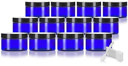 Cobalt Blue 4 oz PET Plastic (BPA Free) Refillable Low Profile Jar (12 pack) + Spatulas