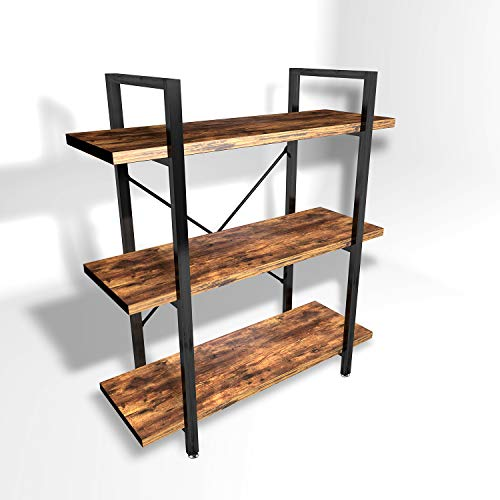Lazyin 3 Tier Vintage Bookshelf, Industrial Style Bookcases Bookshelves Furniture for Home Office, Wood Look & Metal Frame, Rustic Brown