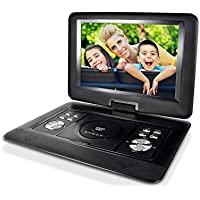 ZEROXCLUB 14.5-inch Portable DVD Player with Swivel Screen,Support USB/SD Card ,4 Hours Rechargeable Battery,Best Gift for Kids(Black)