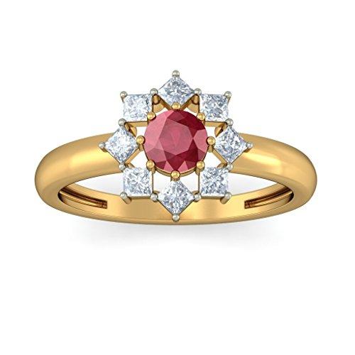 Or jaune 18K, 0,46carat Diamant Blanc (IJ | SI) Rubis et diamant Bague