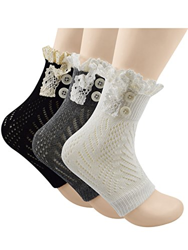 - Spring fever Womens Fashion Short Knitting Lace Socks Leg Warmer Boot Cover 3 Pairs Black White Dark Grey