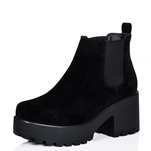 Spylovebuy Block Heel Cleated Sole Platform Chelsea Ankle Boots Black Synthetic Suede US 7