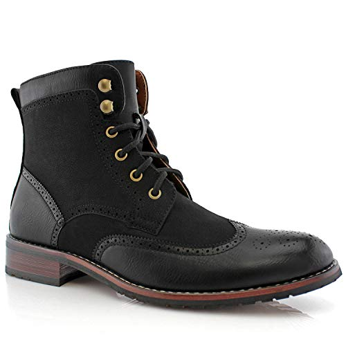 Polar Fox Jonah MPX808567 Mens Casual Perforated Vegan Leather High-Top Red Wing tip Brogue Western Derby Dress Boots - Black, Size 11