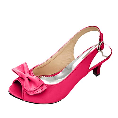 (Mysky Fashion Summer Women Sexy Fish Mouth Bowknot Pure High Heels Sandals Ladies Casual Ankle Buckle Single Shoes Hot Pink)