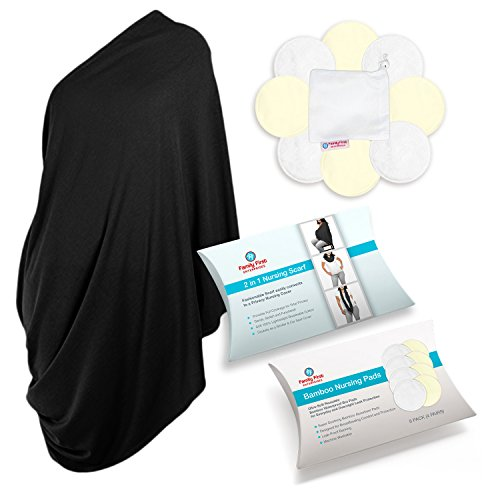 Breastfeeding Cover and Organic Bamboo Breastfeeding Pads  M