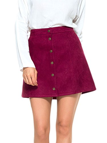 (PERSUN Women's Faux Suedette Button Closure Plain A-Line Mini Skirt Red )