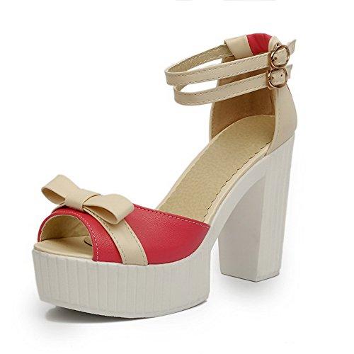 Amoonyfashion Donna Materiale Morbido Peep Toe Tacchi Alti Fibbia Sandali Di Colore Assortiti Rosso