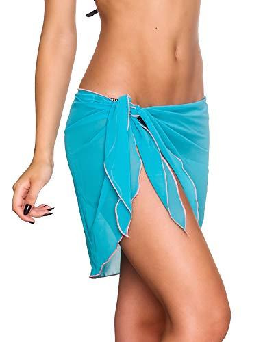THE MESH KING Coqueta Swimwear Chiffon Cover up Beach Sarong Pareo Canga Swimsuit Wrap BLUE