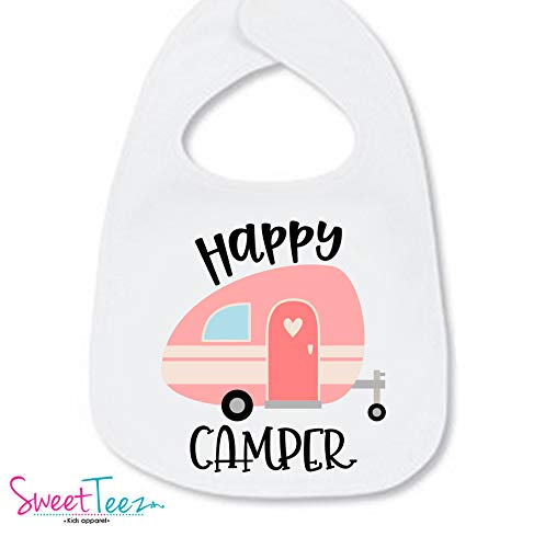 the latest 70a6c 13c57 Happy Camper Bib For Baby Girl Camping Gear Cute Gift For Baby Girl