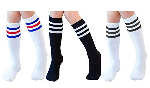Knee High Tube Socks for Boys, Girls, Baby, Toddler & Child 3 Pairs(Black&White&White,13.5in/34cm(4-8Years)) -
