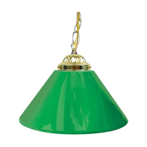 "Trademark Gameroom Green Single Shade Gameroom Lamp, 14"" (Brass Hardware)"