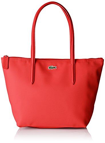 Lacoste Cabas Cuir, Sac Bandouliere Femme, 14.5x24.5x23.5 cm (W x H x L) Rouge (High Risk Red)