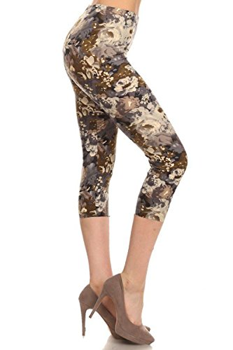 - 41CZVWv0vtL - Leggings Depot Capri REG/Plus Women's Buttery Popular Prints BAT2 (Plus Size (Size 12-24), Beige Floral)