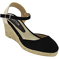 Beston ID90 Women Espadrille Ankle Strap Platform Wedge Sandals One Size Small, Color:BLACK, Size:7.5