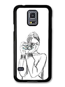 Girl with a Camera Sketch Original Art Illustration carcasa de Samsung Galaxy S5 mini