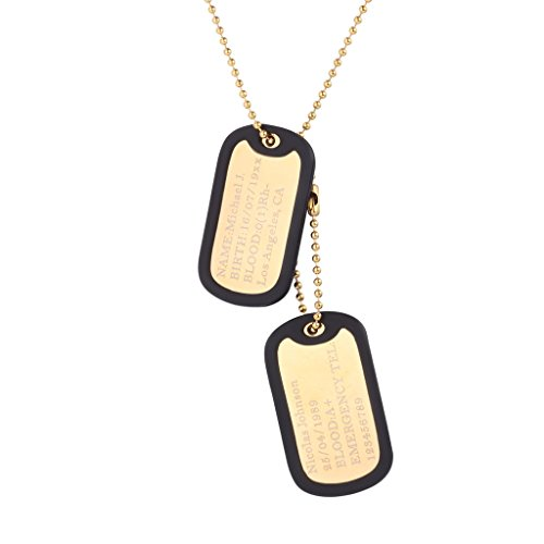 Custom Engraved Dog Tag Pendant with 18K Gold Plated Chain 23