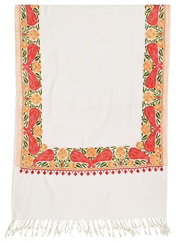 The MadhuSudan Gallery Kashmiri Embroidery Indian Shawl Stole Scarf Wrap for Wedding Parties Bridesmaid Prom (Off White, 28 inch x 80 inch)