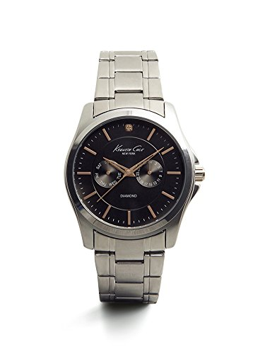 Kenneth Cole New York Men's 10022311 Genuine Diamond- Rock Out Analog Display Japanese Quartz Silver Watch