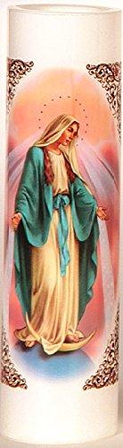 (Miraculous Mother | Maria Milagrosa | LED Flameless Prayer Candle with Automatic Timer | Veladora de Oracion sin Llama | English & Spanish | Candlight Vigils | Novena Candles Religious/Catholic Gifts)