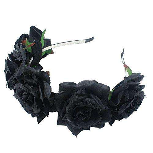 ACTLATI Girl Bride Rose Flower Crown Wedding Festival Headband Hairband Floral Garland Headpiece Black (Flower Headpiece Halloween)