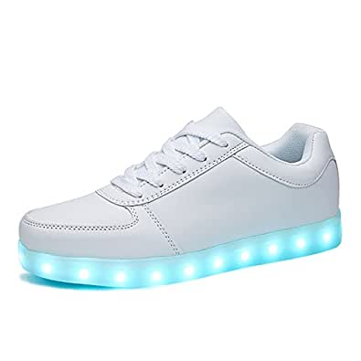 SANYES USB Charging Light Up Shoes Sports LED Shoes Dancing Sneakers White Size: 4.5 Women/3 Men