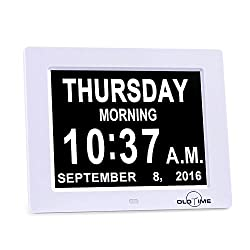 8The Original Memory Loss Digital Calendar Day Clock with Extra Large Non-Abbreviated Day & Month.8inch LED with Extra Large Day, Month,Time for Elderly (White) , Perfect for Mom Dad And Seniors