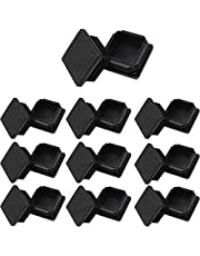 """1 1/2"""" Square Tubing Plug End Caps, 20 Pack Tubing Post End Cap,38mm x 38mm Black Plastic Square Plugs, Chair Glide Floor Protector"""