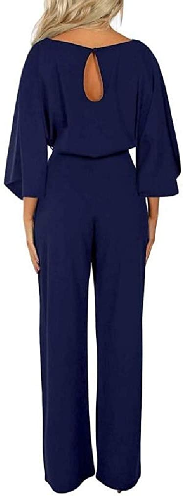 Abetteric Womens Casual Belted Long Sleeve Wide Leg Rompers Long Jumpsuit