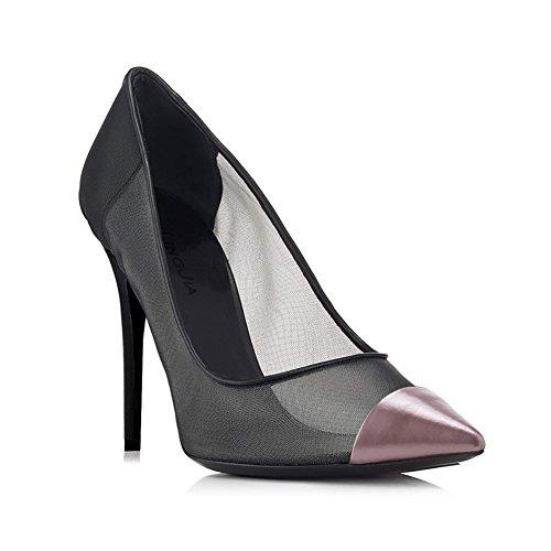 Formal y Púrpura de de y de Oficina Noche Do Primavera XUE Verano Zapatos Mujer Hebilla Fiesta Carrera Tacón Zapatos Aguja Malla de Negro Negocios Amarillo Acentuados Trabajo R61P41q