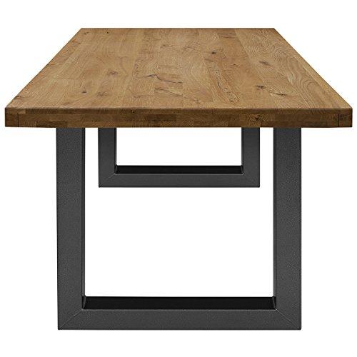 COMIFORT Mesa de Comedor - Mueble para Salon Oficina Despacho Robusto y Moderno de Roble Macizo Color Ahumado, Patas de Acero U-Forma Grafito (200x100 cm)