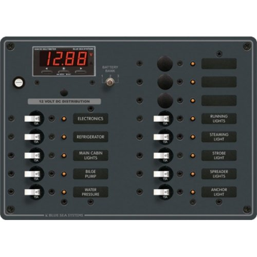 BLUE SEA SYSTEMS DC Distribution Panel, MFG# 8403, Ten 15 Amp breakers w/ white toggle switch and 3 open positions. Digital multimeter. 12 or 24 VDC, with Negative bus and LED indicators. 10.5''W x 7.5''H. 100 Amp Max. / BS-8403 / by Blue Sea Systems