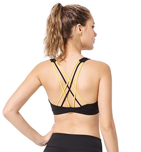 Yvette Sports Gym Yoga Bra Full Figure Thin Strappy Workout Bra for Womens Pilates Fitness Activities Body Measuring Tape