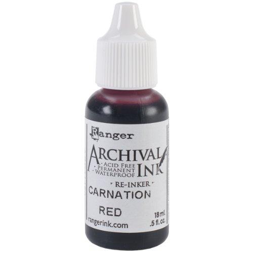 Ranger Wendy Vecchi Designer Series Archival Re-Inker, 0.5-Ounce, Carnation (Archival Waterproof Dye Ink Pad)