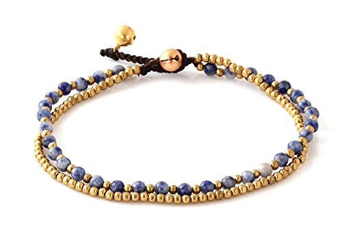 MGD, Blue lapiz Lazuli Color Bead and Brass Bell Anklet. 2-strand Anklets Beautiful Handmade Brass Anklet. Small Anklets. Ankle Bracelet. Fashion Jewe…