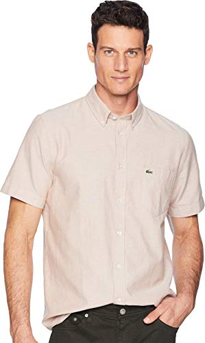 Lacoste Men's Short Sleeve Oxford Button Down Collar Regular Fit Woven Shirt, CH4975, Resin, X-Large (Woven Sleeve Shirt)